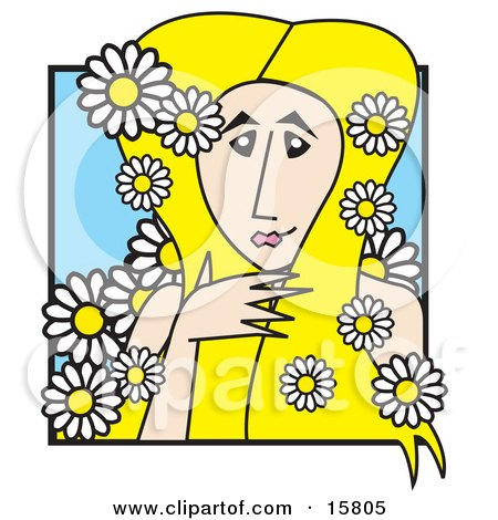 Beautiful Blond Female Goddess With White Daisies In Her Hair Clipart Illustration by Andy Nortnik