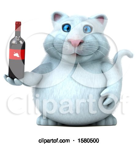 Clipart of a 3d White Kitty Cat Holding Wine, on a White Background - Royalty Free Illustration by Julos
