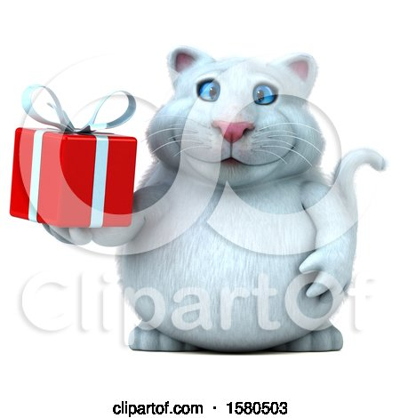 Clipart of a 3d White Kitty Cat Holding a Gift, on a White Background - Royalty Free Illustration by Julos