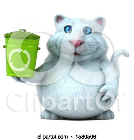 Clipart of a 3d White Kitty Cat Holding a Recycle Bin, on a White Background - Royalty Free Illustration by Julos