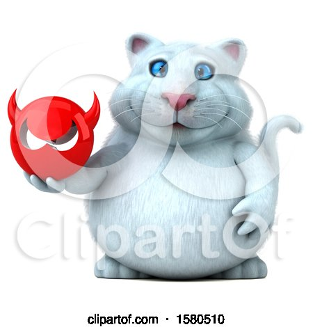 Clipart of a 3d White Kitty Cat Holding a Devil, on a White Background - Royalty Free Illustration by Julos