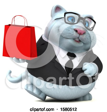 Clipart of a 3d White Business Kitty Cat Holding a Shopping Bag, on a White Background - Royalty Free Illustration by Julos