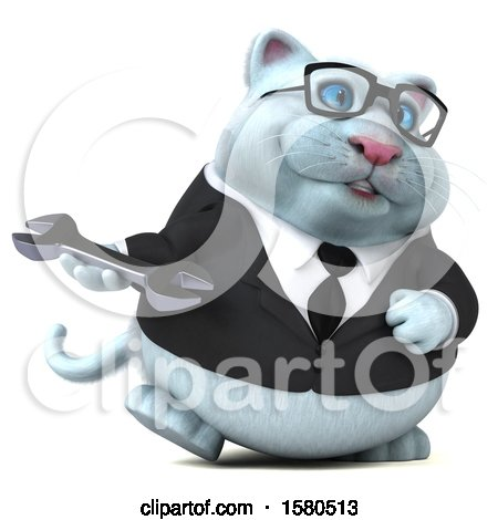 Clipart of a 3d White Business Kitty Cat Holding a Wrench, on a White Background - Royalty Free Illustration by Julos