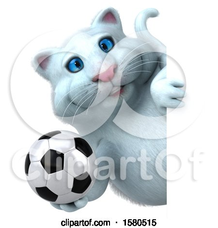 Clipart of a 3d White Kitty Cat Holding a Soccer Ball, on a White Background - Royalty Free Illustration by Julos