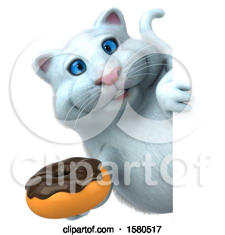 Clipart of a 3d White Kitty Cat Holding a Donut, on a White Background - Royalty Free Illustration by Julos