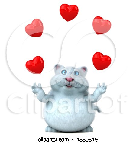 Clipart of a 3d White Kitty Cat Juggling Hearts, on a White Background - Royalty Free Illustration by Julos