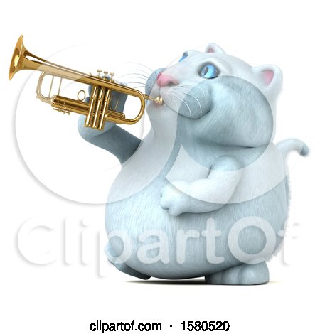 Clipart of a 3d White Kitty Cat Playing a Trumpet, on a White Background - Royalty Free Illustration by Julos