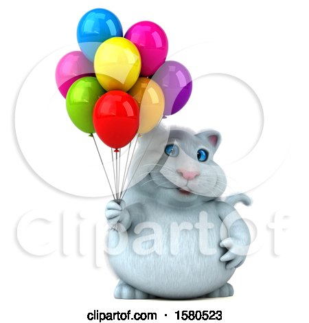 Clipart of a 3d White Kitty Cat Holding Balloons, on a White Background - Royalty Free Illustration by Julos