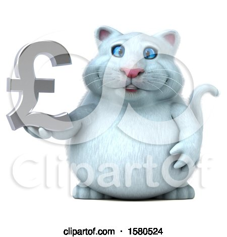 Clipart of a 3d White Kitty Cat Holding a Pound Currency Symbol, on a White Background - Royalty Free Illustration by Julos