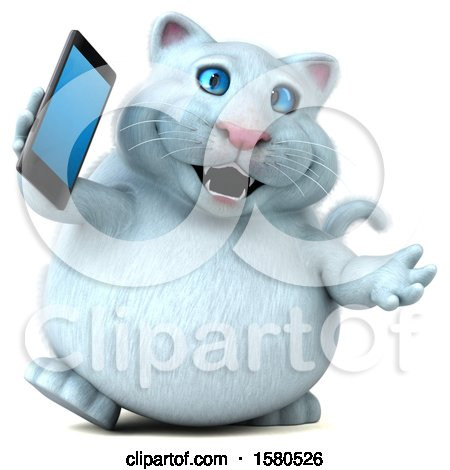 Clipart of a 3d White Kitty Cat Talking on a Cell Phone, on a White Background - Royalty Free Illustration by Julos