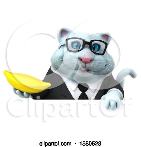 Clipart of a 3d White Business Kitty Cat Holding a Banana, on a White Background - Royalty Free Illustration by Julos