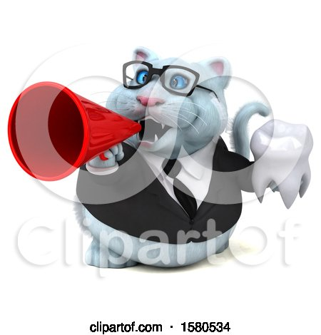 Clipart of a 3d White Business Kitty Cat Holding a Tooth, on a White Background - Royalty Free Illustration by Julos