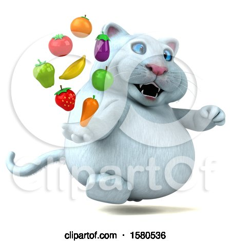 Clipart of a 3d White Kitty Cat Holding Produce, on a White Background - Royalty Free Illustration by Julos