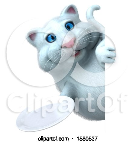 Clipart of a 3d White Kitty Cat Holding a Plate, on a White Background - Royalty Free Illustration by Julos