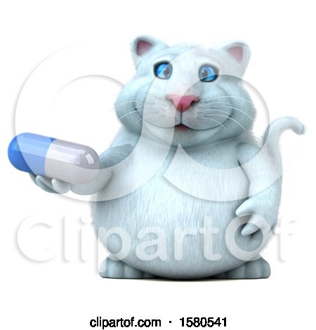 Clipart of a 3d White Kitty Cat Holding a Pill, on a White Background - Royalty Free Illustration by Julos