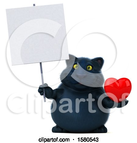 Clipart of a 3d Black Kitty Cat Holding a Heart, on a White Background - Royalty Free Illustration by Julos
