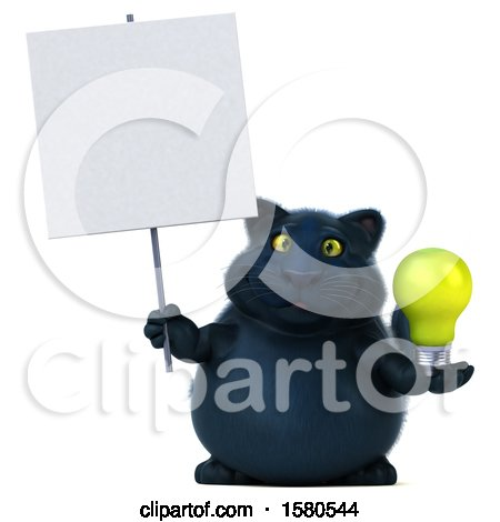 Clipart of a 3d Black Kitty Cat Holding a Light Bulb, on a White Background - Royalty Free Illustration by Julos