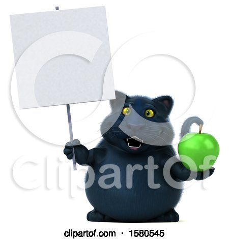 Clipart of a 3d Black Kitty Cat Holding an Apple, on a White Background - Royalty Free Illustration by Julos