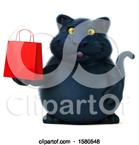Clipart of a 3d Black Kitty Cat Holding a Shopping Bag, on a White Background - Royalty Free Illustration by Julos