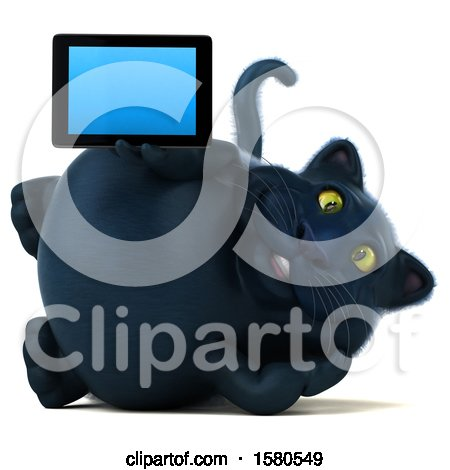 Clipart of a 3d Black Kitty Cat Holding a Tablet, on a White Background - Royalty Free Illustration by Julos