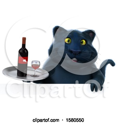 Clipart of a 3d Black Kitty Cat Holding Wine, on a White Background - Royalty Free Illustration by Julos