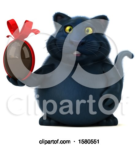 Clipart of a 3d Black Kitty Cat Holding a Chocolate Egg, on a White Background - Royalty Free Illustration by Julos