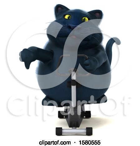 Clipart of a 3d Black Kitty Cat Exercising on a Spin Bike, on a White Background - Royalty Free Illustration by Julos