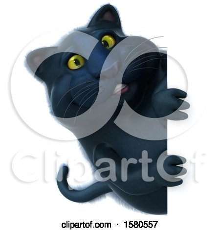 Clipart of a 3d Black Kitty Cat Looking Around a Sign, on a White Background - Royalty Free Illustration by Julos
