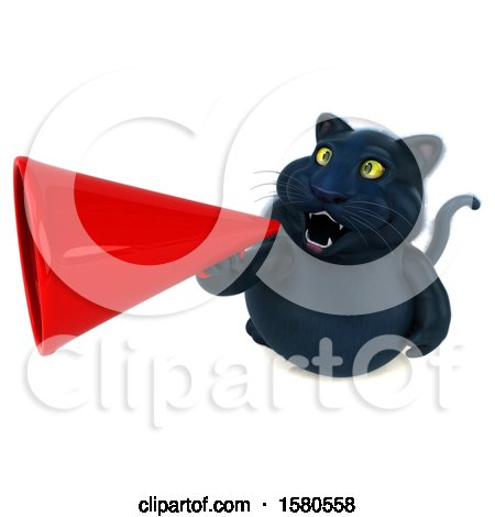 Clipart of a 3d Black Kitty Cat Using a Megaphone, on a White Background - Royalty Free Illustration by Julos