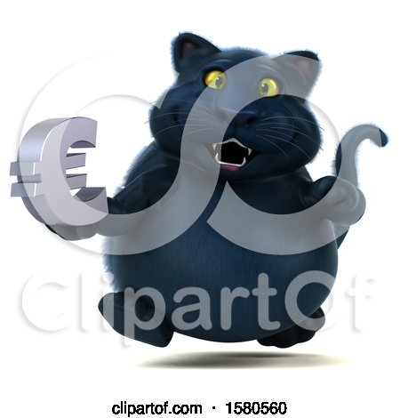Clipart of a 3d Black Kitty Cat Holding a Euro, on a White Background - Royalty Free Illustration by Julos