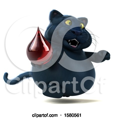 Clipart of a 3d Black Kitty Cat Holding a Blood Drop, on a White Background - Royalty Free Illustration by Julos