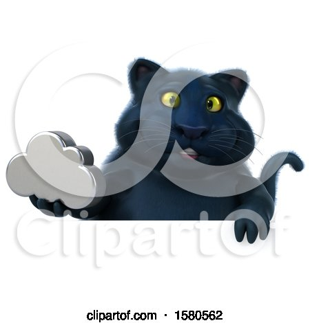 Clipart of a 3d Black Kitty Cat Holding a Cloud, on a White Background - Royalty Free Illustration by Julos