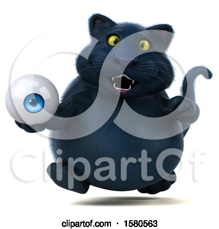 Clipart of a 3d Black Kitty Cat Holding an Eyeball, on a White Background - Royalty Free Illustration by Julos