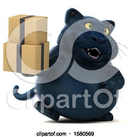 Clipart of a 3d Black Kitty Cat Holding Boxes, on a White Background - Royalty Free Illustration by Julos