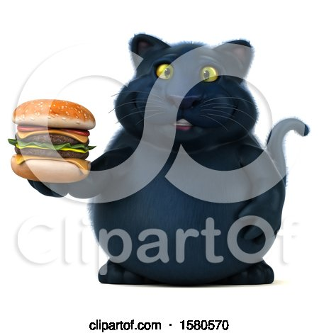 Clipart of a 3d Black Kitty Cat Holding a , on a White Background - Royalty Free Illustration by Julos