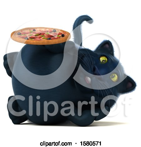 Clipart of a 3d Black Kitty Cat Holding a Pizza, on a White Background - Royalty Free Illustration by Julos