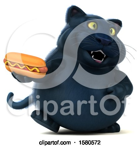 Clipart of a 3d Black Kitty Cat Holding a Hot Dog, on a White Background - Royalty Free Illustration by Julos