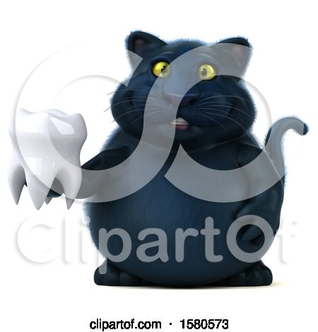 Clipart of a 3d Black Kitty Cat Holding a Tooth, on a White Background - Royalty Free Illustration by Julos