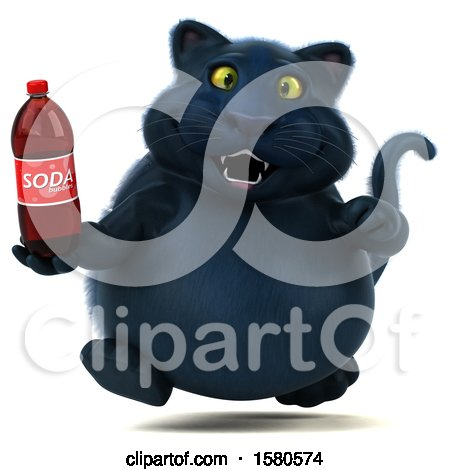 Clipart of a 3d Black Kitty Cat Holding a Soda, on a White Background - Royalty Free Illustration by Julos