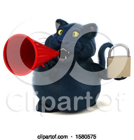 Clipart of a 3d Black Kitty Cat Holding a Padlock, on a White Background - Royalty Free Illustration by Julos