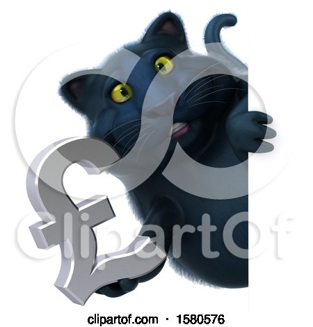 Clipart of a 3d Black Kitty Cat Holding a Pound Currency Symbol, on a White Background - Royalty Free Illustration by Julos