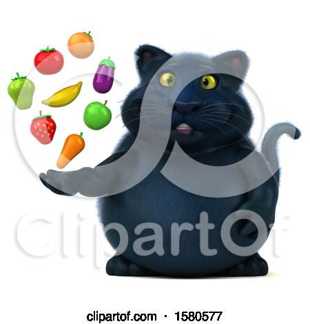 Clipart of a 3d Black Kitty Cat Holding Produce, on a White Background - Royalty Free Illustration by Julos