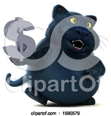 Clipart of a 3d Black Kitty Cat Holding a Dollar Sign, on a White Background - Royalty Free Illustration by Julos
