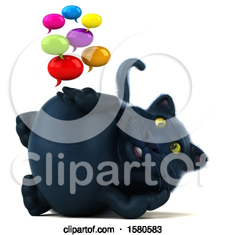 Clipart of a 3d Black Kitty Cat Holding Messages, on a White Background - Royalty Free Illustration by Julos