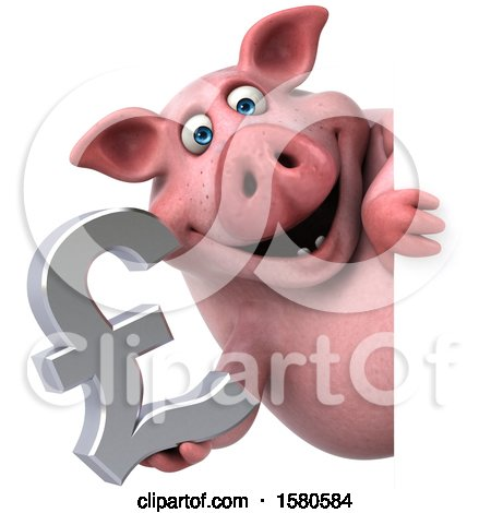 Clipart of a 3d Chubby Pig Holding a Pound Currency Symbol, on a White Background - Royalty Free Illustration by Julos