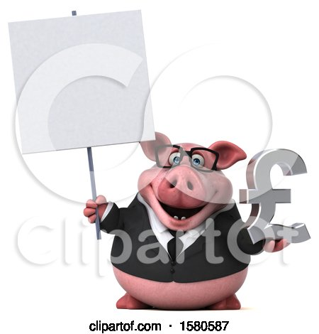 Clipart of a 3d Chubby Business Pig Holding a Pound Currency Symbol, on a White Background - Royalty Free Illustration by Julos