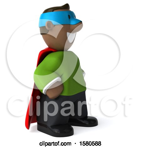 Clipart of a 3d Black Super Hero, on a White Background - Royalty Free Illustration by Julos