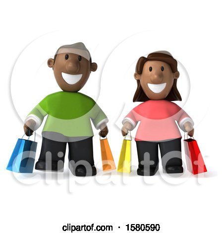 Clipart of a 3d Happy Black Couple Shopping, on a White Background - Royalty Free Illustration by Julos
