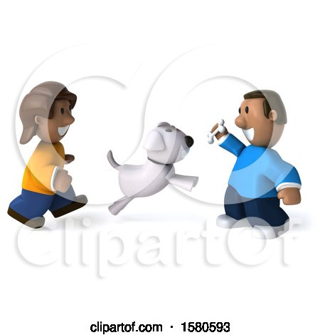 Clipart of a 3d Happy Black Couple, or Kids, with a Dog, on a White Background - Royalty Free Illustration by Julos