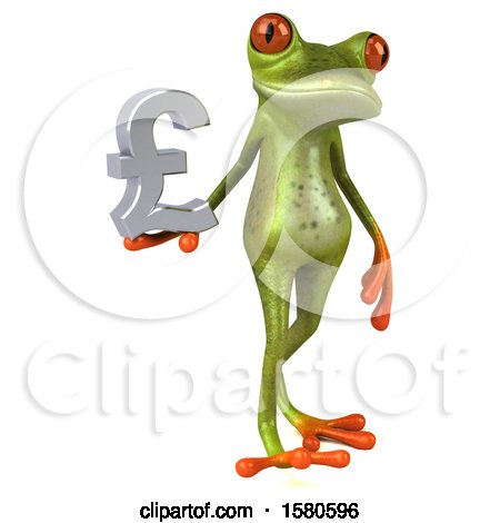 Clipart of a 3d Green Frog Holding a Pound Currency Symbol, on a White Background - Royalty Free Illustration by Julos
